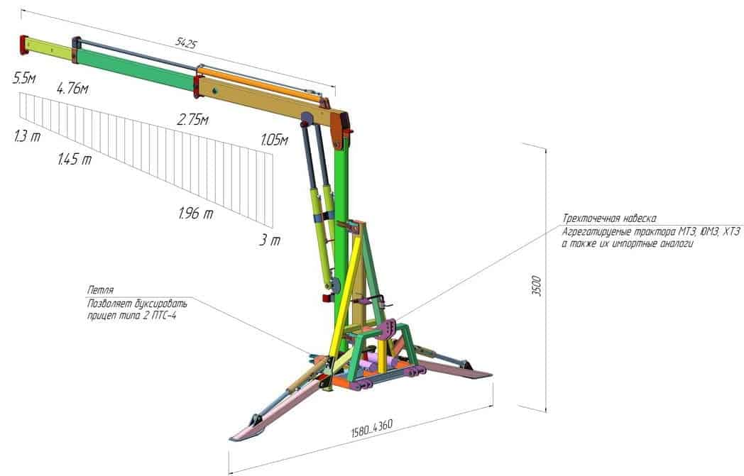 DL Agro tractor crane load chart